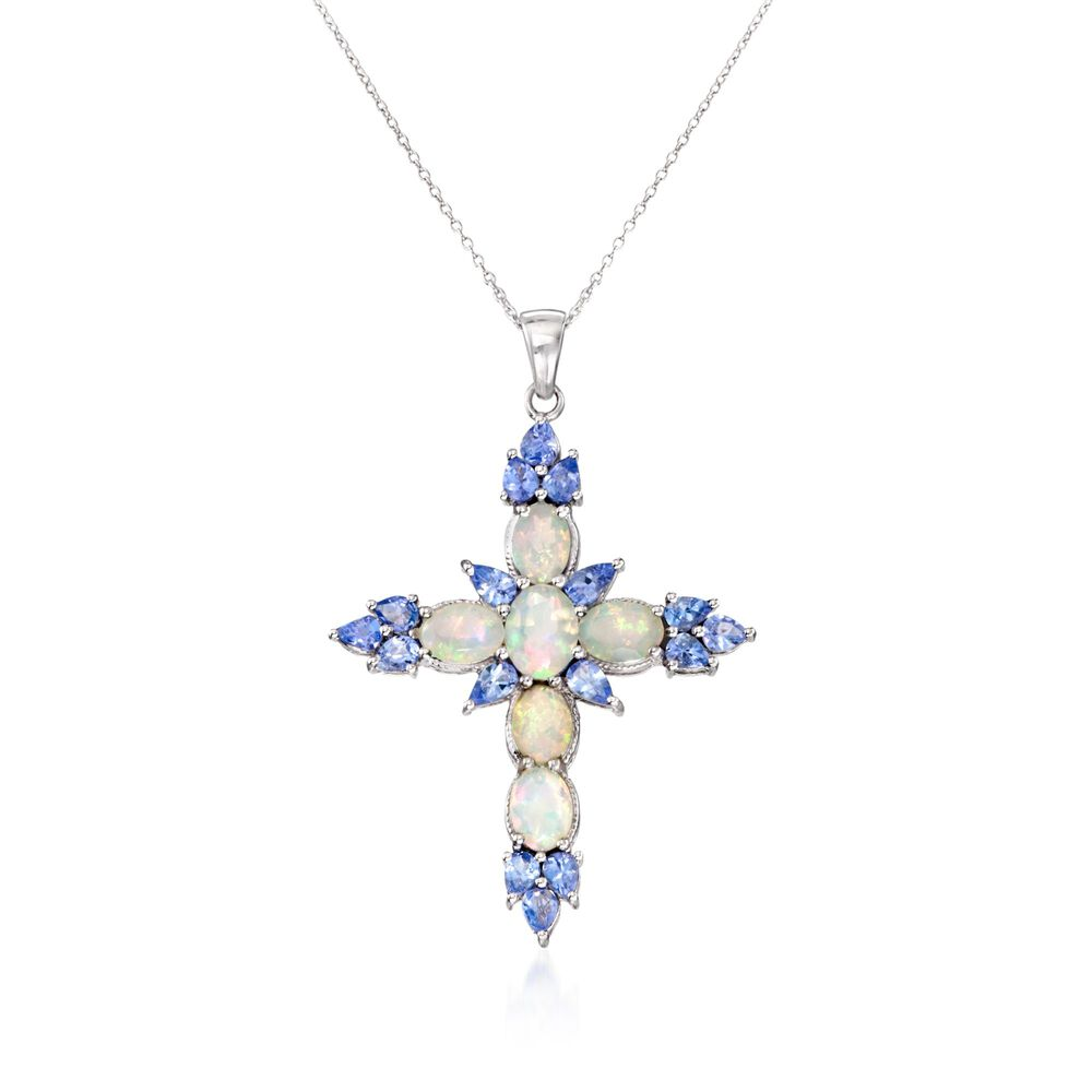 Opal and 190 ct tw tanzanite cross pendant necklace in sterling tw tanzanite cross pendant necklace in sterling silver 18quot aloadofball Choice Image