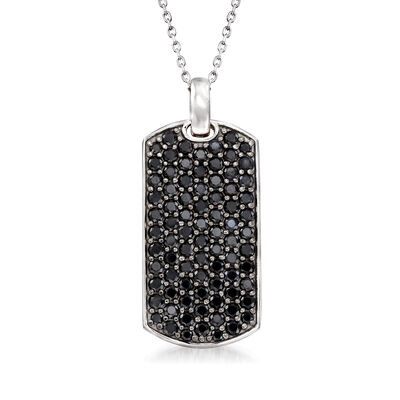 4.00 ct. t.w. Black Spinel Tag Pendant Necklace in Sterling Silver