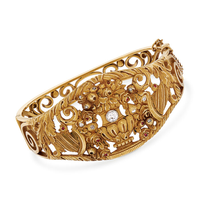 C. 1912 Vintage .35 ct. t.w. Diamond and .10 ct. t.w. Ruby Vase Carved Bangle Bracelet in 18kt Yellow Gold. 7""