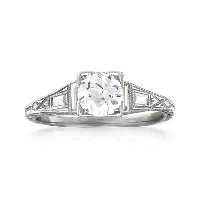 C. 1950 Vintage .70 Carat Diamond Ring in 18kt White Gold, , default
