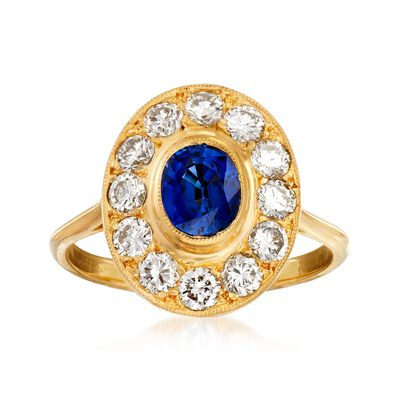 C. 1980 Vintage 1.00 Carat Sapphire and 1.00 ct. t.w. Diamond Ring in 18kt Yellow Gold, , default