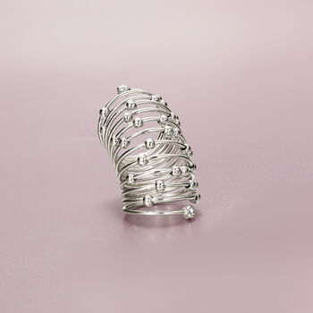 Italian Sterling Silver Beaded Coil Knuckle Ring With CZ Accents, , default