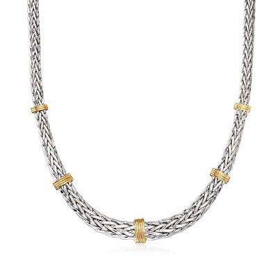 Graduated Wheat Chain Necklace in Sterling Silver with 14kt Yellow Gold, , default