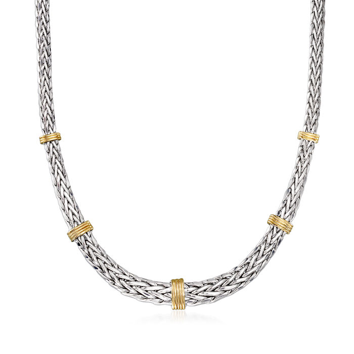 Graduated Wheat Chain Necklace in Sterling Silver with 14kt Yellow Gold