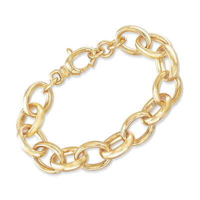 Italian Andiamo Oval Link Bracelet in 14kt Gold Over Resin, , default