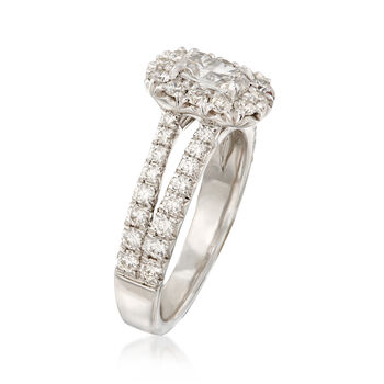Henri Daussi 1.41 ct. t.w. Diamond Halo Engagement Ring in 18kt White Gold  , , default