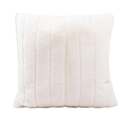 Set of 2 White Faux Fur Throw Pillows, , default