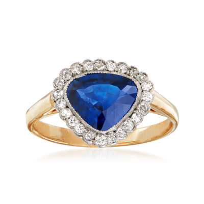 C. 1980 Vintage 1.45 Carat Sapphire and .20 ct. t.w. Diamond Ring in 14kt Yellow Gold, , default