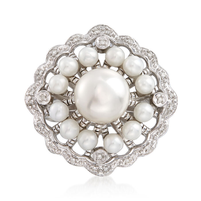 3-8mm Cultured Pearl Scalloped Ring with Diamond Accents in Sterling Silver, , default