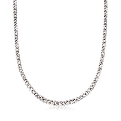 Italian Sterling Silver Graduated Curb Chain Necklace, , default