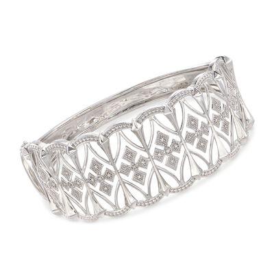 .13 ct. t.w. Diamond Openwork Bangle Bracelet in Sterling Silver, , default