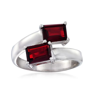 2.20 ct. t.w. Emerald-Cut Garnet Bypass Ring in Sterling Silver