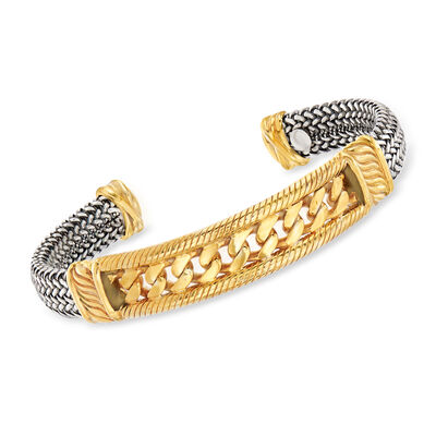 Italian Multi-Link Cuff Bracelet in Sterling Silver and 18kt Gold Over Sterling, , default