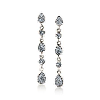 Gray Drusy Teardrop Earrings in Sterling Silve, , default