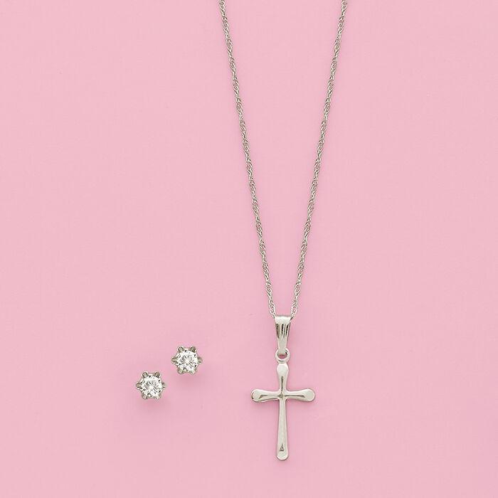 Child's .14 ct. t.w. Diamond Stud Earrings in 14kt White Gold