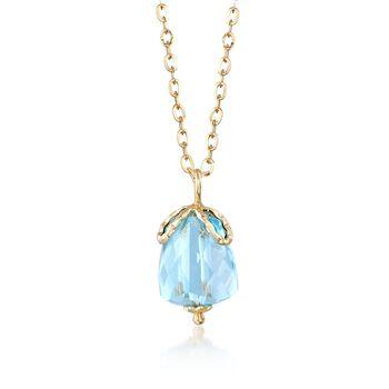"""Italian 5.00 Carat Aquamarine Pendant Necklace in 14kt Yellow Gold. 17.5"""", , default"""