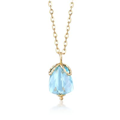 Italian 5.00 Carat Aquamarine Pendant Necklace in 14kt Yellow Gold, , default
