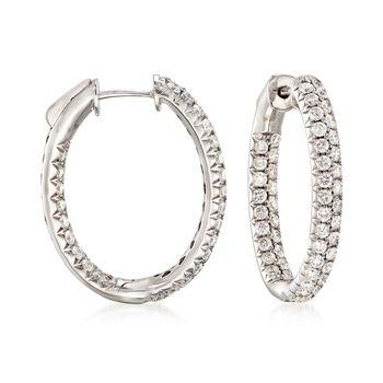 """2.00 ct. t.w. Diamond Inside-Outside Hoop Earrings in 14kt White Gold. 1"""", , default"""