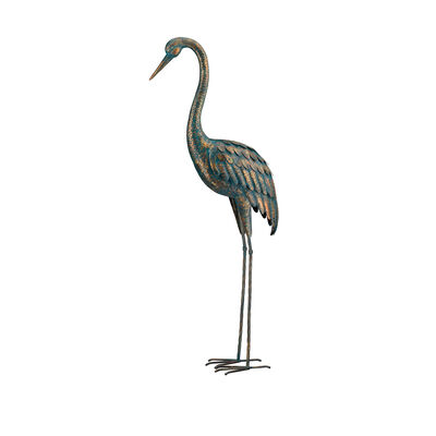 Regal Patina Metal Outdoor Large Crane Statue, , default