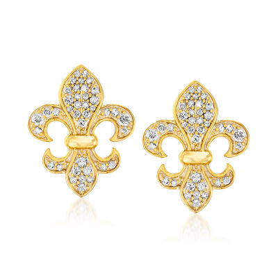 .33 ct. t.w. Diamond Fleur-De-Lis Earrings in 18kt Gold Over Sterling
