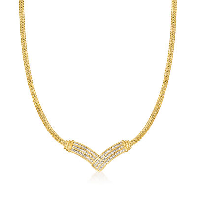 C. 1980 Vintage 2.00 ct. t.w. Diamond V-Shape Necklace in 14kt Yellow Gold