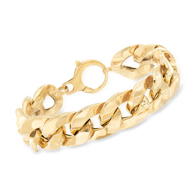 Italian 14kt Yellow Gold Curb-Link Bracelet, , default