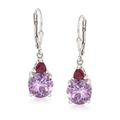 4.50 ct. t.w. Amethyst and .50 ct. t.w. Ruby Drop Earrings in Sterling Silver, , default