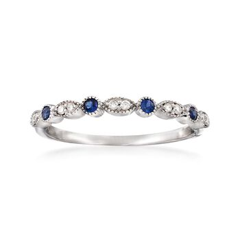 .10 ct. t.w. Sapphire Ring With Diamond Accents in 14kt White Gold, , default