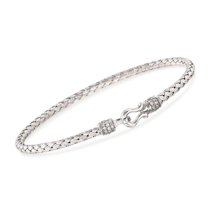 "Charles Garnier ""Harpo"" .20 ct. t.w. CZ Bangle Bracelet in Sterling Silver. 7"", , default"