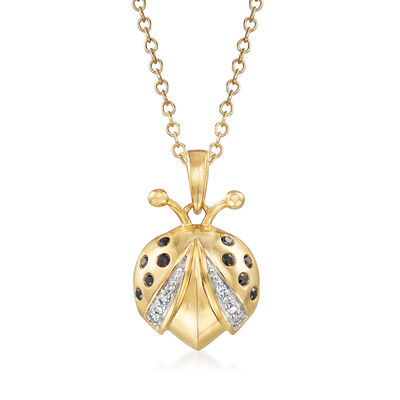 .10 ct. t.w. Black and White Diamond Ladybug Pendant Necklace in 14kt Yellow Gold