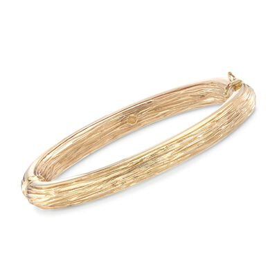 Italian 18kt Yellow Gold Textured and Polished Bangle Bracelet, , default