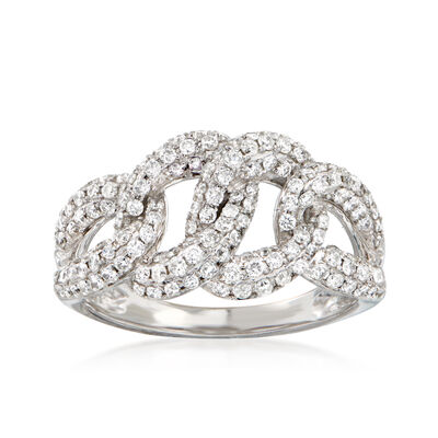 1.00 ct. t.w. Diamond Cuban-Link Ring in 14kt White Gold, , default