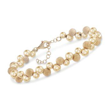 """Italian 18kt Gold Over Sterling Silver Scattered Bead Bracelet. 7"""", , default"""