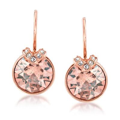 "Swarovski Crystal ""Bella"" Rose Crystal V-Shaped Drop Earrings in Rose Gold Plate , , default"