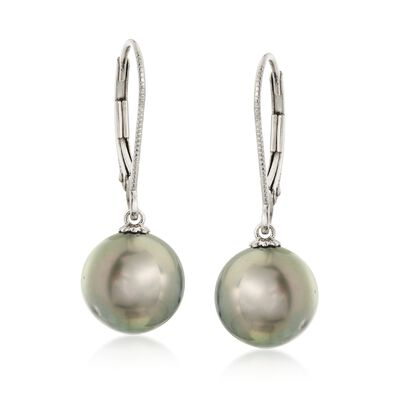 9.5-10mm Black Cultured Tahitian Pearl Drop Earrings in 14kt White Gold, , default