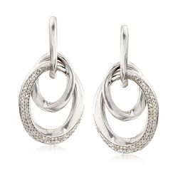 .50 ct. t.w. Diamond Twisted Doorknocker Link Earrings in Sterling Silver, , default