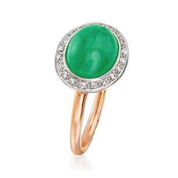 C. 1990 Vintage Mimi Milano Green Jade and .15 ct. t.w. Diamond Ring in 18kt Two-Tone Gold. Size 6.5, , default