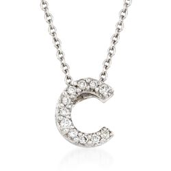 "Roberto Coin ""Tiny Treasures"" Diamond Accent Initial ""C"" Necklace in 18kt White Gold. 16"", , default"