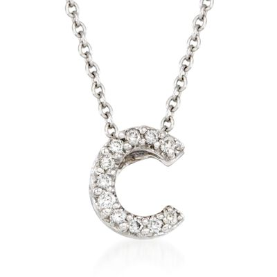 "Roberto Coin ""Tiny Treasures"" Diamond Accent Initial ""C"" Necklace in 18kt White Gold, , default"
