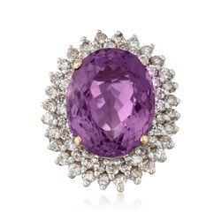 C. 1950 Vintage 14.20 Carat Amethyst and 1.75 ct. t.w. Diamond Ring in 14kt Yellow Gold, , default