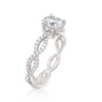 Simon G. .32 ct. t.w. Diamond Twisted Engagement Ring Setting in 18kt White Gold, , default