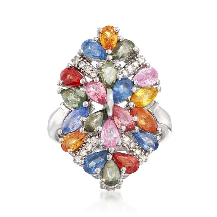 5.00 ct. t.w. Multicolored Sapphire and .12 ct. t.w. Diamond Ring in Sterling Silver, , default