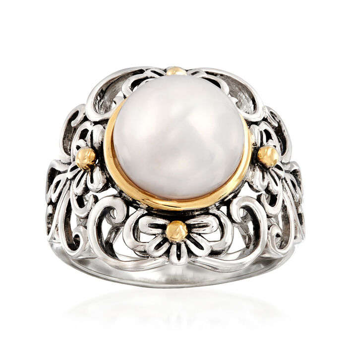 10mm Cultured Pearl Floral Scroll Ring in Sterling Silver and 14kt Yellow Gold, , default