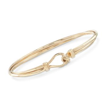 "Italian 14kt Yellow Gold Two-Row Knot Bangle Bracelet. 7"", , default"
