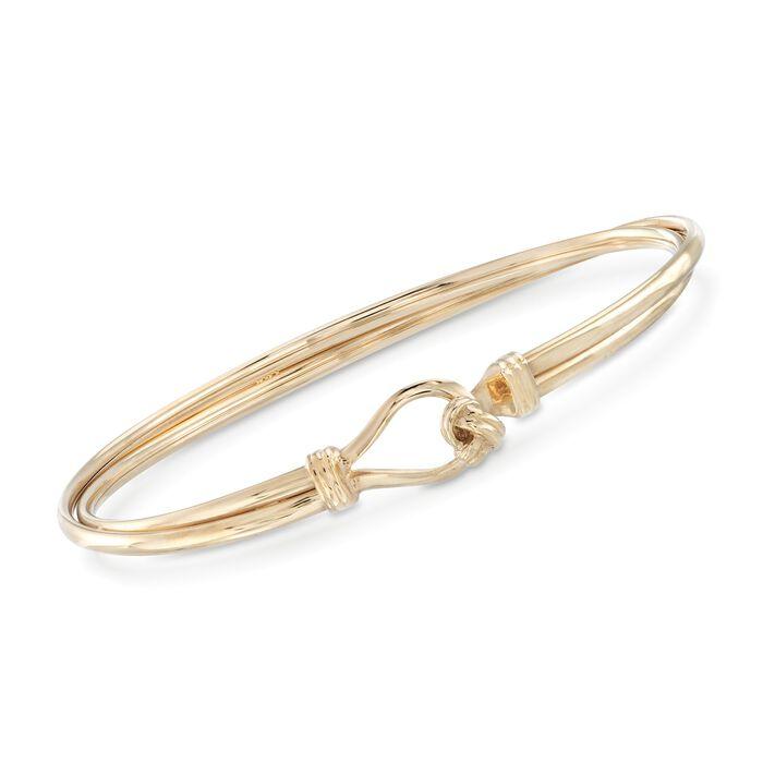 "Italian 14kt Yellow Gold Two-Row Knot Bangle Bracelet. 7"", , default"