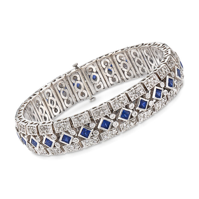 """C. 1960 Vintage 5.20 ct. t.w. Square Sapphire and 4.40 ct. t.w. Diamond Bracelet in 18kt White Gold. 7"""", , default"""