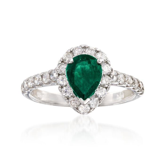 1.00 Carat Pear-Shaped Emerald and .75 ct. t.w. Diamond Ring in 14kt White Gold, , default
