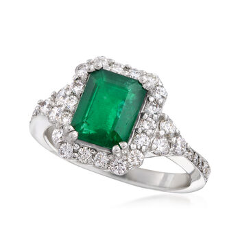 2.10 Carat Emerald and .75 ct. t.w. Diamond Ring in 18kt White Gold, , default