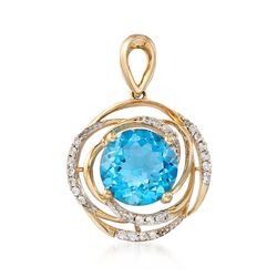 5.00 Carat Blue Topaz and .30 ct. t.w. White Sapphire Pendant in 14kt Yellow Gold, , default