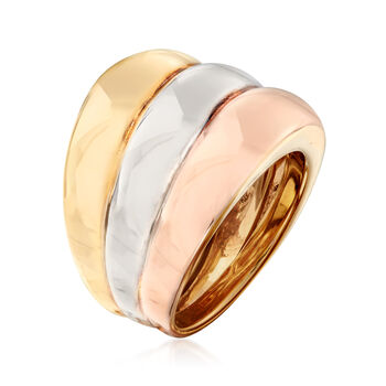Italian 18kt Tri-Colored Gold Multi-Row Ring. Size 6.5, , default